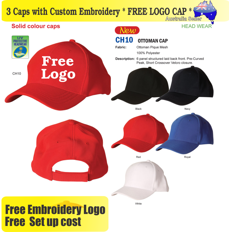 Details about 3 Custom Embroidered Caps Hats * FREE LOGO Embroidery *  Racing CAP Sports 705