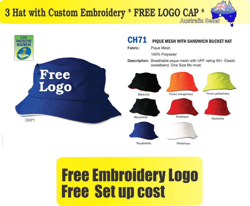 Details about 3 Custom Embroidered Bucket Hats * FREE LOGO Embroidery *TEAM  CAP SPORTS CAPS*05
