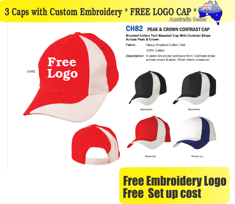 Details about 3 Custom Embroidered Caps Hats * FREE LOGO Embroidery *  Racing CAP Sports 708